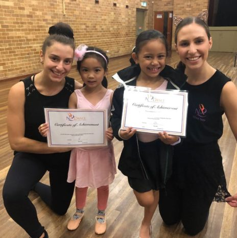 N2 Dance Productions teachers posing with award winning students in Ermington community hall
